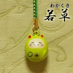 【送料無料】福音鈴(ふくいんすず)招き猫根付[若草]