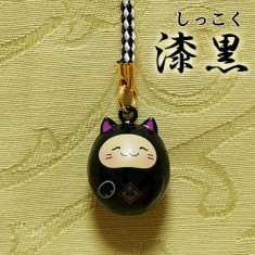 【送料無料】福音鈴(ふくいんすず)招き猫根付[漆黒]