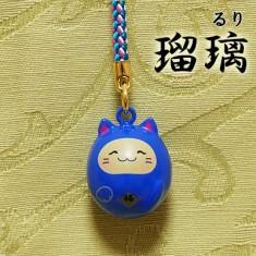 【送料無料】福音鈴(ふくいんすず)招き猫根付[瑠璃]