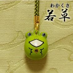 【送料無料】福音鈴(ふくいんすず)かえる根付[若草]