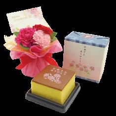【送料無料】カーネーションブーケ&文明堂カステラ 母の日ギフト